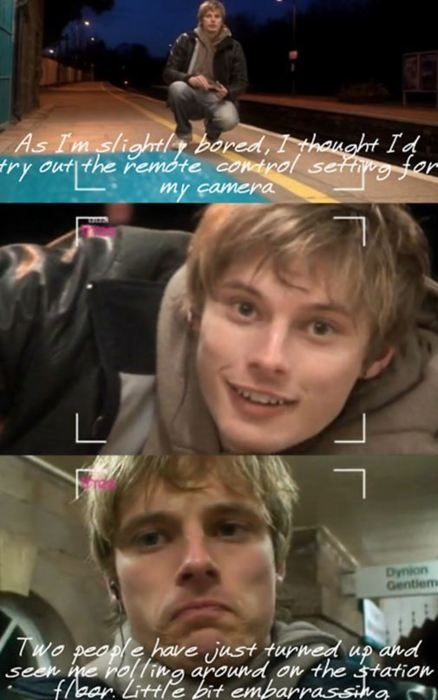 Bradley James being caught rolling around on a train station floor while filming himself...b/c it's real life! (Merlin)