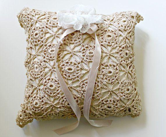 Ring Bearer Pillow Square Ring Pillow Wedding by TheFloweringMaple