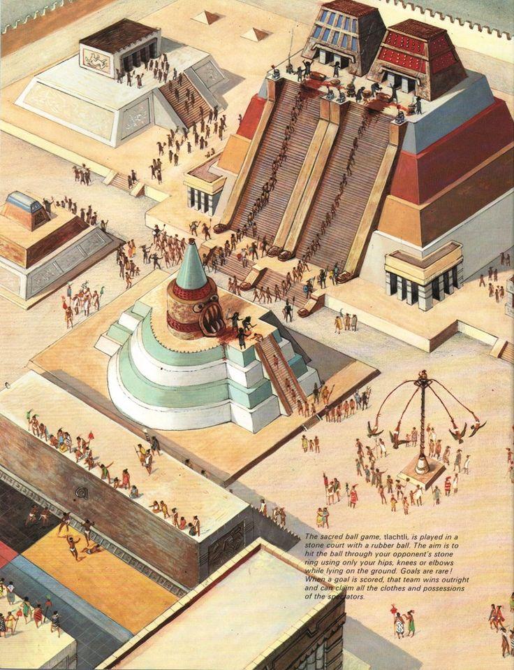 Es una cuadra antigua. Es de la civilzación de azteca. Este es un templo y otro edificios.