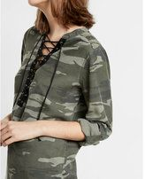 Express lace-up silky soft twill long-sleeve camo shirt