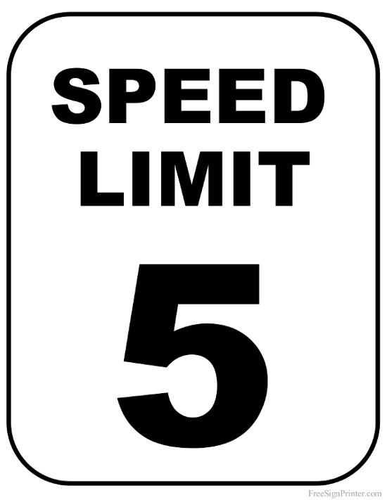 Printable 5 MPH Speed Limit Sign Sign
