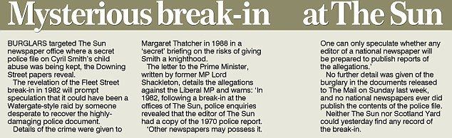 Mysterious break-in at the Sun newspaper where a secret police file on Cyril Smith's child abuse was being kept. Maragaret Thatcher knew about paedophile MP  Cyril Smith | Daily Mail Online