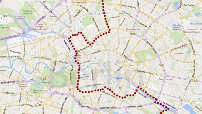 Grafik: Der Mauerverlauf in Berlin-Mitte (Quelle: rbb, Bing)