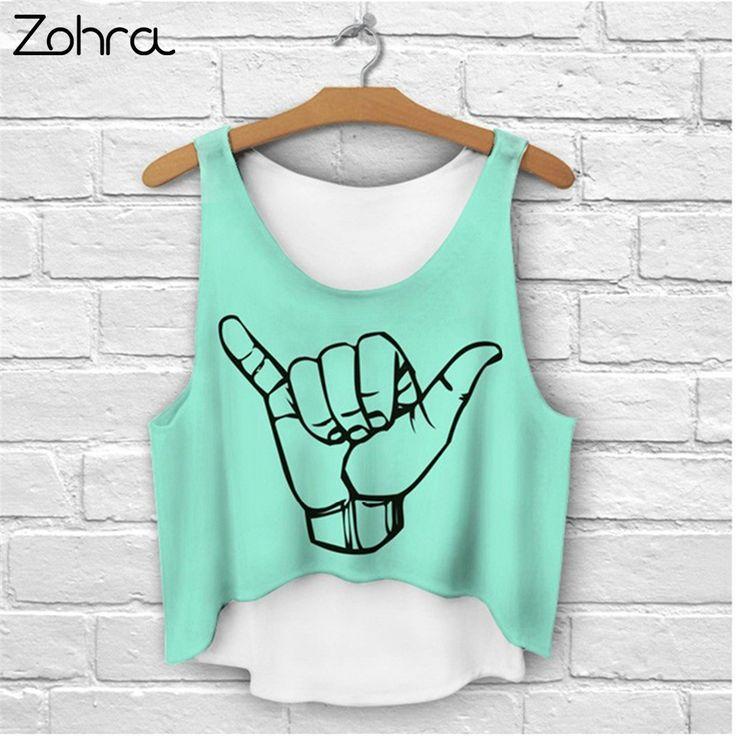 Zohra Multi Colors T-Shirts 3D Print Women Tank Tops Camis Print Camisoles & Tanks Woman Short Crop Top Tees Irregular