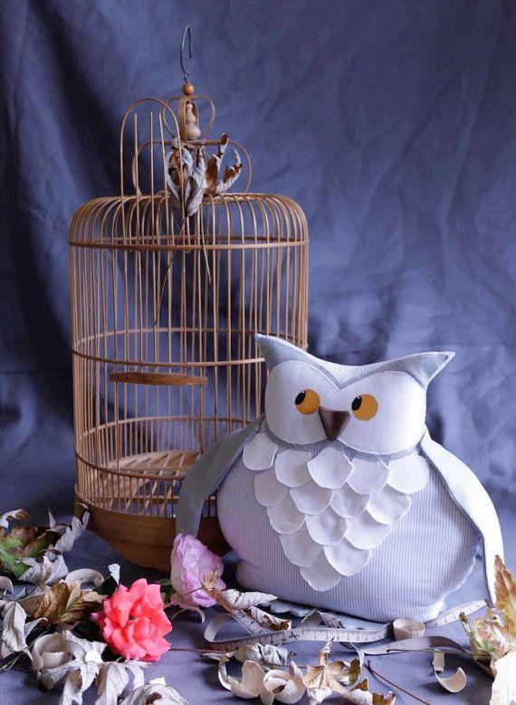 Gufo Fermaporta / Owl doorstop linen and cotton di EffeCremona su Etsy