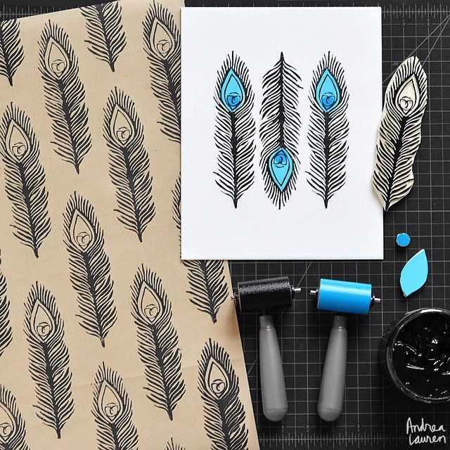Morning printing session with this peacock feather block I just carved.  Also, hand printed some wrapping paper in half-drop repeat after finishing this small art print with three colors! Love to ink•print•repeat