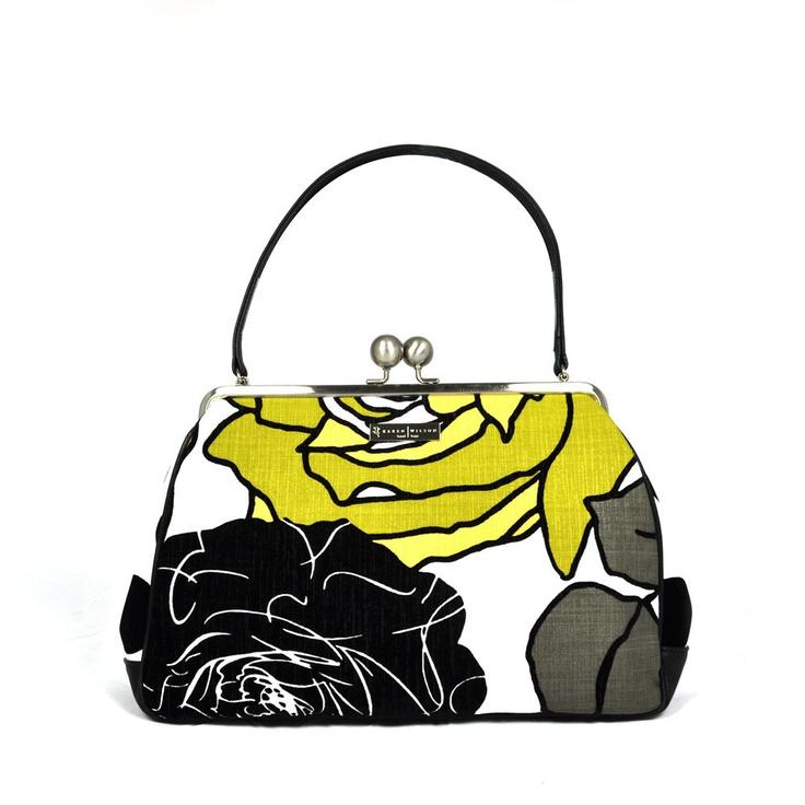 Karen Wilson Chartreuse Chenille Fleur Handbag