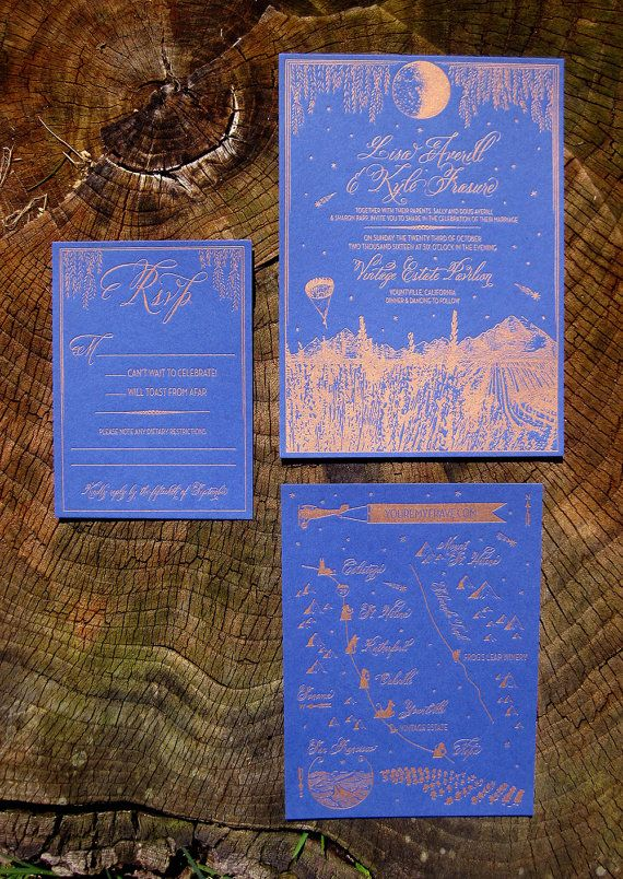 bronze letterpress vineyard wedding invitation suite