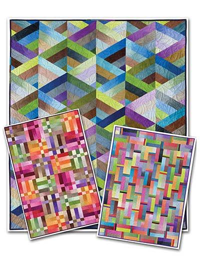"""STRIP IT THREE WAYS. 3 patterns in 1. Each pattern uses 2 1/2"""" Jelly Rolls in your favorite colors! You can choose from 3 designs: Prism, which is formed from pieced triangle shapes; a Rainbow Square that's created from squares of vertical piecing crossed by a multi-piece single row; or Weave, which gives the over and under appearance of weaving."""