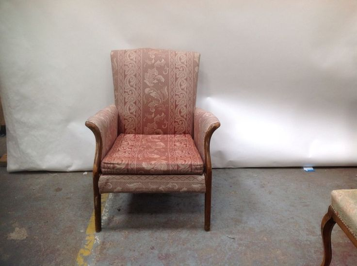 Vintage Arm Chair Light Red Fabric