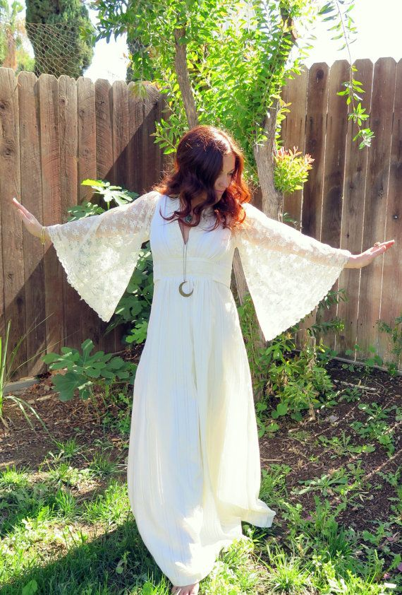 Vintage 70s Bohemian Hippie Goddess Lace Angel by TealMoonVintage