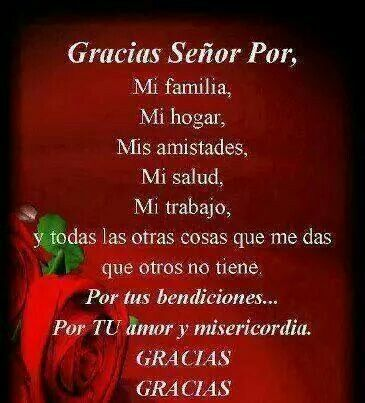 Gracias señor por mi familia mi hogar mis amistades mi salud mi trabajo y todas las otras cosas que me das que otros no tienen. Por tus bendiciones por tu amor y misericordia.