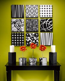 1 inch syrofoam,  scrapbook paper and grosgrain ribbon = fast and easy wall art