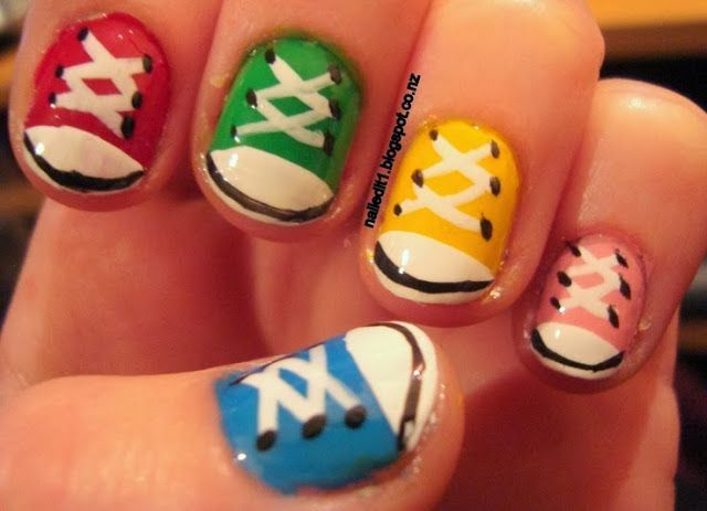 Shoe nails, tennis shoe nails, Converse Nails, chuck taylor nail art - whatever their name is, I love 'em.