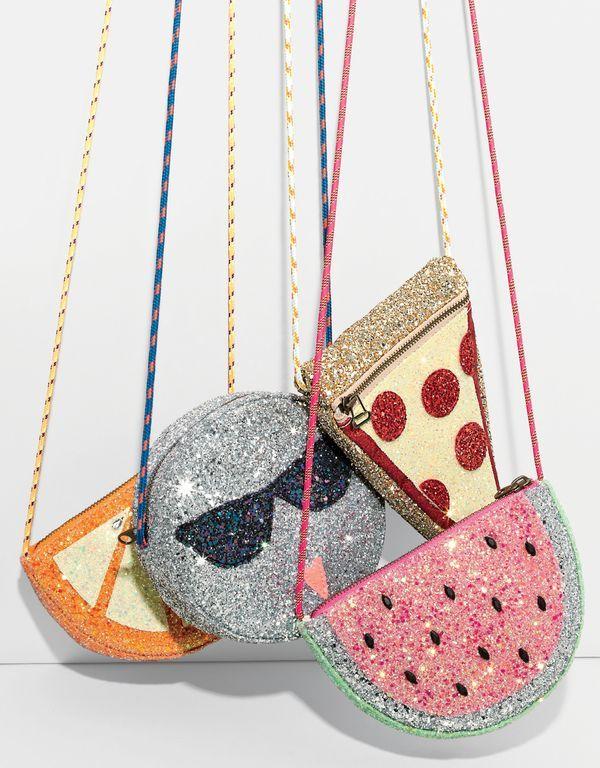 J.Crew girls' glitter orange slice bag, glitter Olive in sunnies bag, glitter pizza slice bag and glitter watermelon bag.
