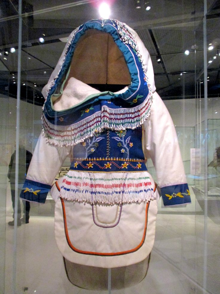 """1980 Kivalliq Inuit (First Nations) Amauti (Woman's Parka) at the McCord Museum, Montreal - From the curators' comments: """"The amauti is perhaps the item of clothing that best illustrates how the past coexists with the present. Still made and worn today, the amauti is a living legacy that dates back thousands of years."""""""