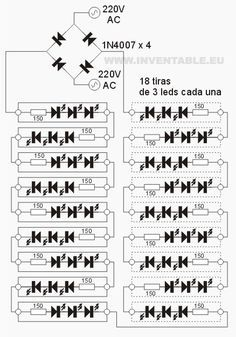 Circuito electrónico de las tiras de leds con 220V