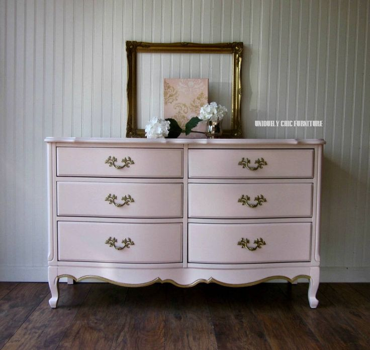 French Provincial Blush Pink Dresser~Nursery~Long Dresser by suezcues on Etsy https://www.etsy.com/listing/562306264/french-provincial-blush-pink