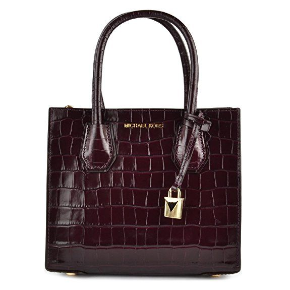 MICHAEL by Michael Kors Mercer Damson Crocodile Effect Messenger #Bag Damson with #Gold Hardware for a #Luxury look   #Ad