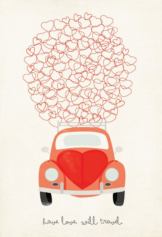 VW Love Bug Illustration Have Love Will Travel by ShopAmySullivan