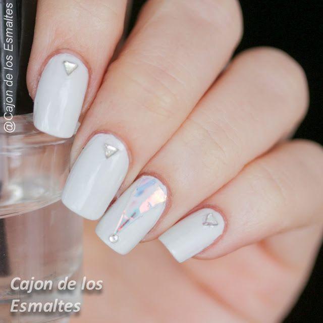 Uñas de vidrio roto (glass nails) strass  white delicate