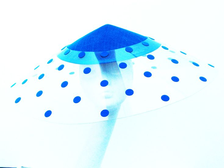 blue polkadots hat