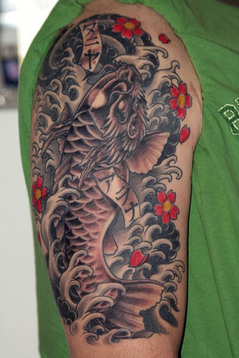 28 best koi fish tattoos images on pinterest feminine for Dragon fish tattoo