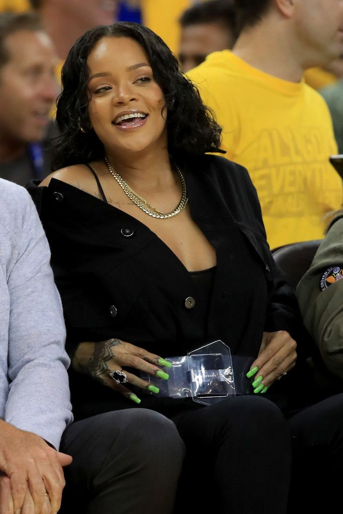 Rihanna attends Game 1 of the 2017 NBA Finals at ORACLE Arena on June 1, 2017 in Oakland, California