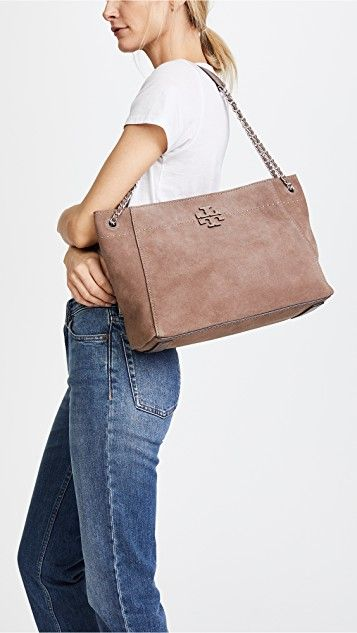 100fbc44544f Tory Burch Mcgraw Suede Chain Shoulder Slouchy Tote
