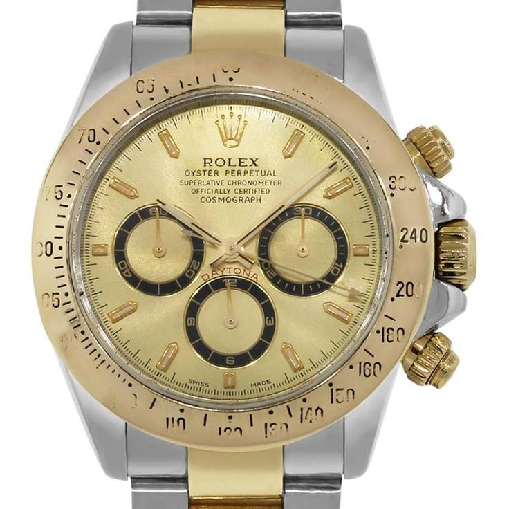 Rolex Daytona 16523 Two Tone Champagne Dial Watch | From a unique collection of vintage wrist watches at https://www.1stdibs.com/jewelry/watches/wrist-watches/
