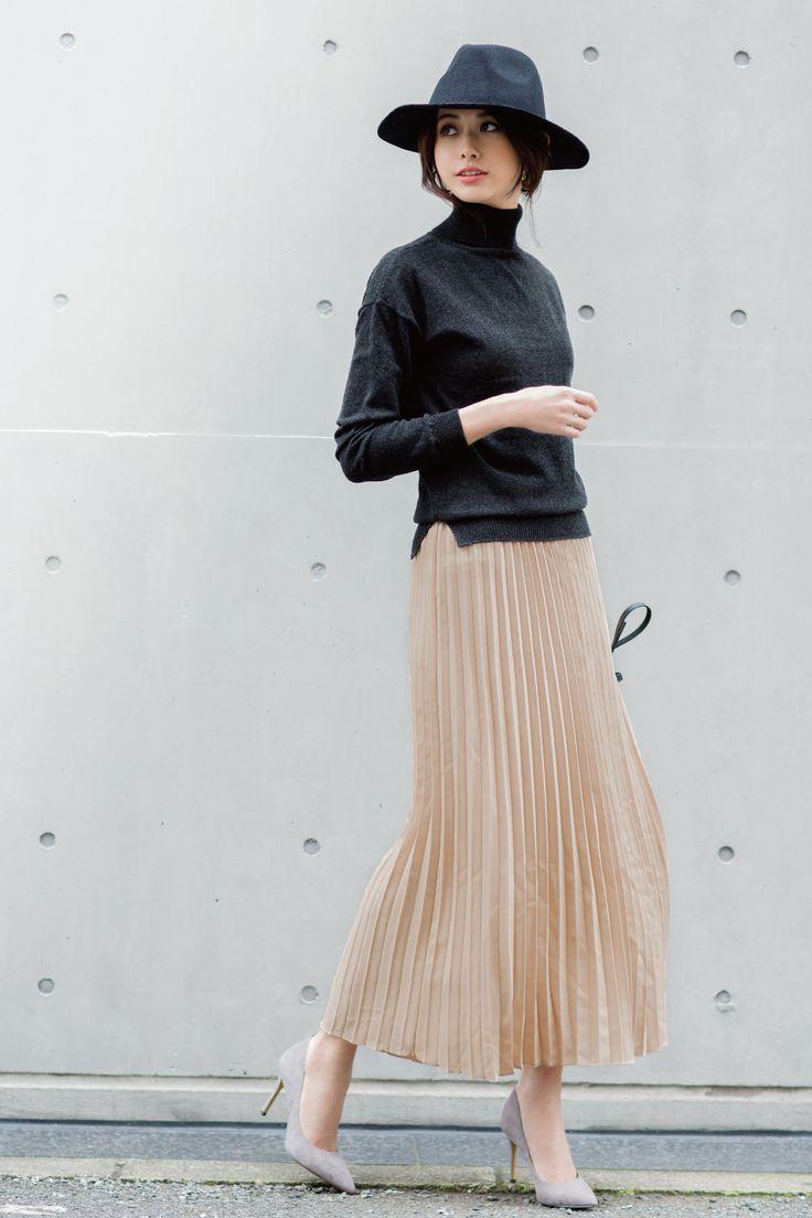 IEDIT 一枚でスタイル完成 プリーツが女らしいロングドッキングワンピース〈ダークグレー×ピンクベージュ〉|フェリシモ