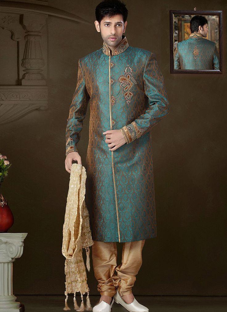 Image result for GREENISH BLUE brocade sherwani