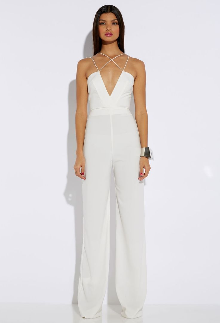 Sane Cream Deep V Jumpsuit from AQ/AQ