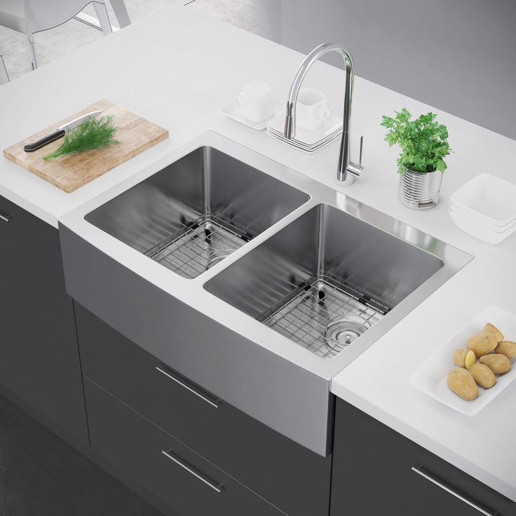 Metal Farmhouse Sink : ... Steel Farmhouse Sink on Pinterest Farm Sink, Fireclay Sink and