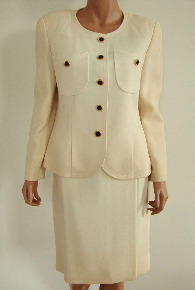 Vintage Authentic CHANEL BOUTIQUE Cream Color WOOL Blend Skirt SUIT 42 US-8 #CHANEL #SkirtSuit