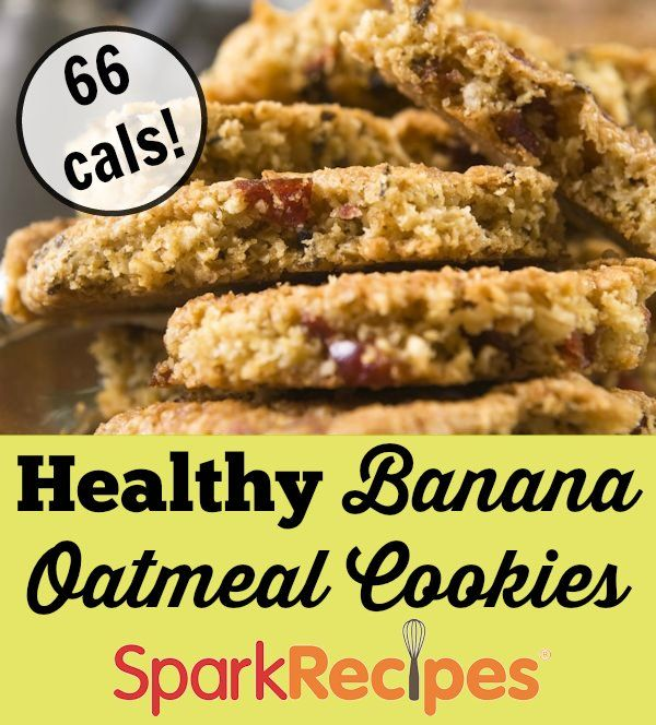 Banana Oatmeal Cookies Recipe. 66 calories per cookie? Okay, go ahead and have another helping! | via @SparkRecipes