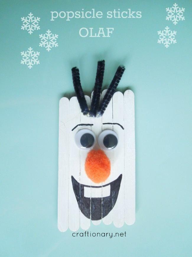 Popsicle Stick Olaf Craft