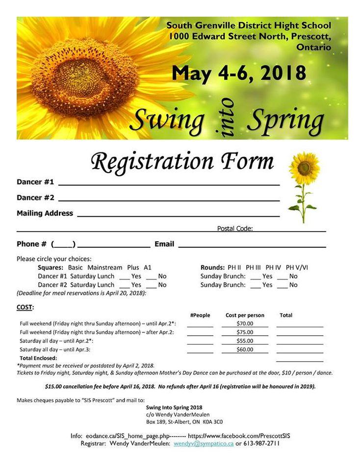 2018 Swing Into Spring Registration Form