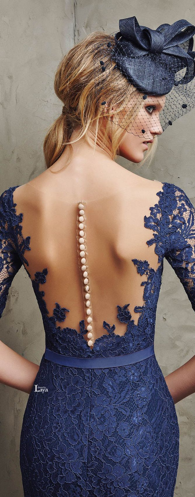 Pronovias 2016 Cocktail Dresses. Blue lace backless. women fashion outfit clothing style apparel @roressclothes closet ideas
