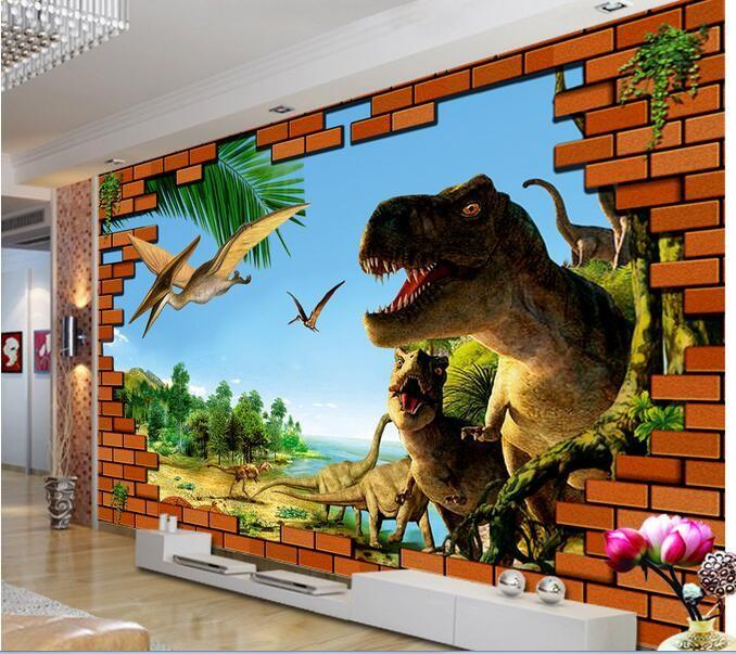 Nice d room wallpaper custom mural non woven wall sticker d brick wall dinosaur era
