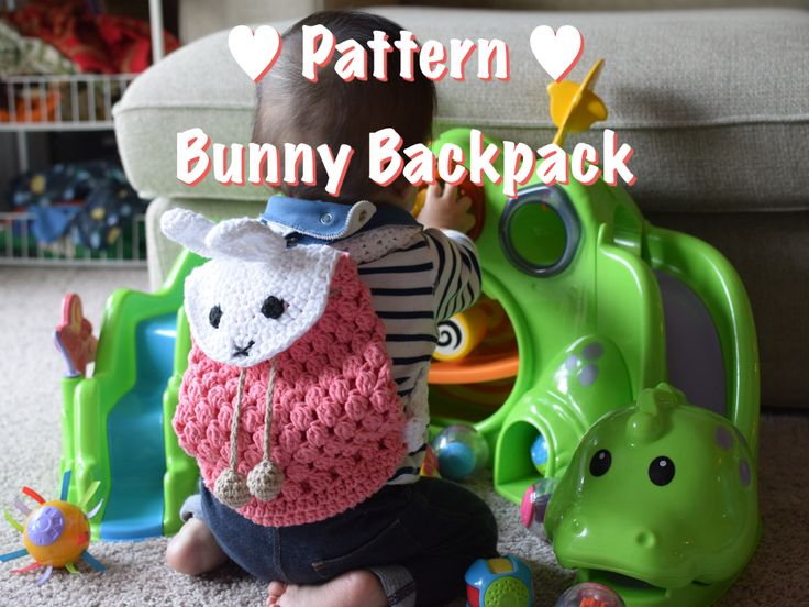 Step-by-step Crochet Pattern: Bunny Backpack for babies and kids. You can make this lovely backpack for your little loving one!