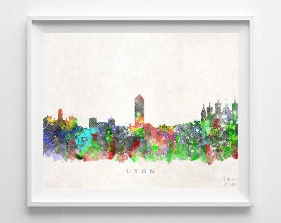 Lyon Skyline Print France Print Lyon Poster France by InkistPrints