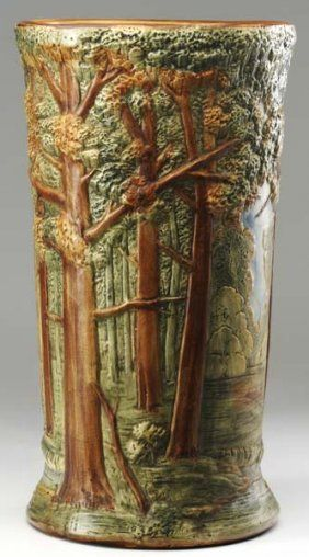 This Weller Forest-pattern umbrella stand, marked for sale at a clear-out price of $450, would be an excellent buy.