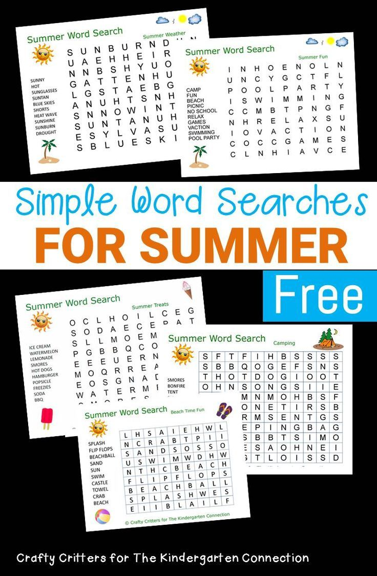 Summer Word Searches For Kids Summer Words Summer Learning School Age Activities