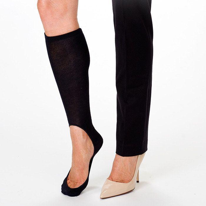 """<a href=""""http://www.keysocks.com/products/womens-no-show-sock-pair-black"""" target=""""_blank"""">Keysocks</a>, $11.95."""
