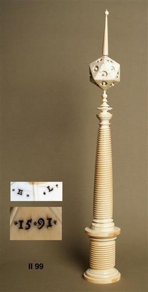 Ivory pillar with icosahedral (height 70.6 cm). Egidius Lobenigk, 1591 Courtesy of Staatliche Kunstsammlungen Dresden
