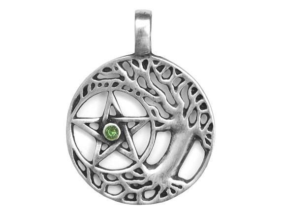 Olavi Wiccan Tree and Pentagram with Green Stone Pewter Pendant Antique Silver Color