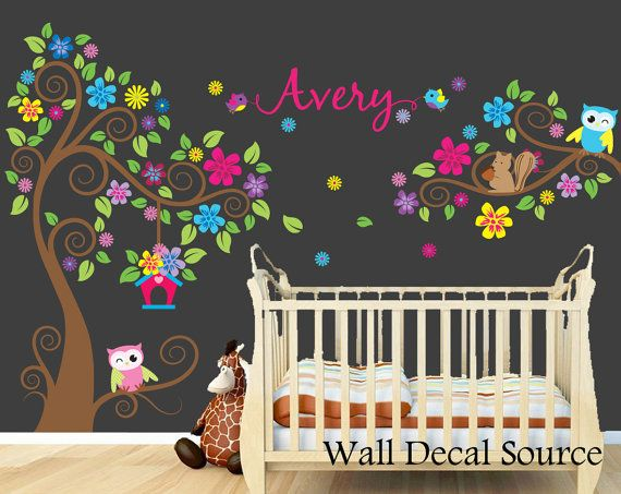 Nursery Wall Decal  Monogram Tree Decal  Vinyl by WallDecalSource, $119.00