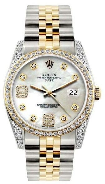 Rolex Date White Mother of Pearl Dial Stainless Steel & Yellow Gold 34mm Unisex Watch
