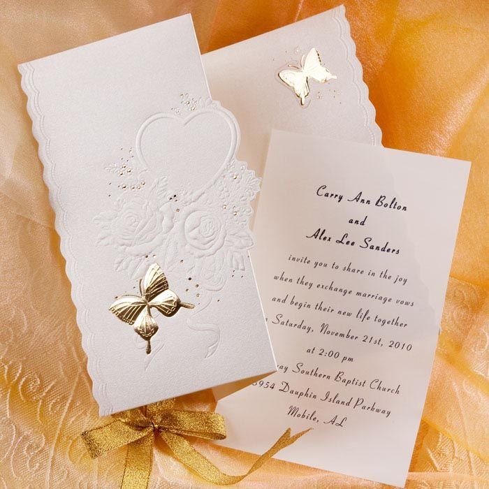 Gold Betterfly And Flowers Tri Folded Wedding Invitations